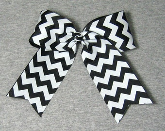 Big Cheer Bow - Large Black and White Hair Bow in a Chevron Zig Zag Stripe Pattern