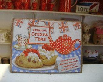 British Cream Teas Miniature Wooden Plaque 1:12 scale