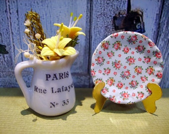 Shabby Flowers  Miniature Plate for Dollhouse 1:12 scale