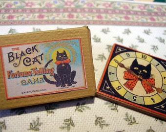 Black Cat Fortune Telling Game 1:12 scale for Dollhouses
