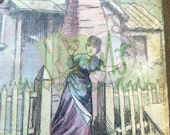 Victorian Cottage Printable Lady Picket Fence Old House Scrap Image Old Farmhouse Illustration Farmer's Wife Old Chimney Domestic Scene Art