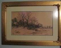 Painting ,Print or Pen and Ink Drawing, Framed Art, Gold Frame, Gilt Frame, Wall Decor