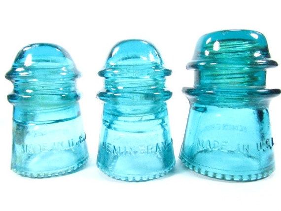 Vintage power line insulators blue glass insulators glass for Glass power line insulators