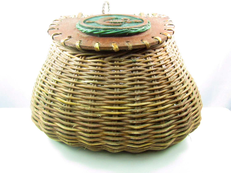 Gratiot Lake Basket Weaving Supplies : Antique creel basket vintage fishing s