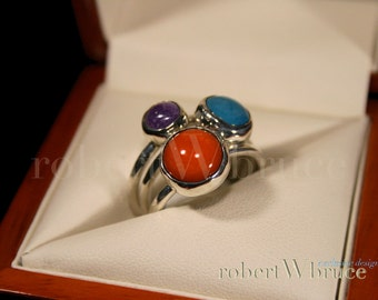 Fused Glass & Argentium Stacking Rings / Exclusive robertWbruce Design