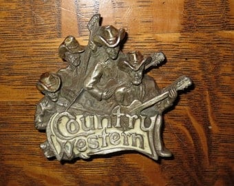 Vintage 1987 Country Western Band Buckle , Bergamot Buckle Company