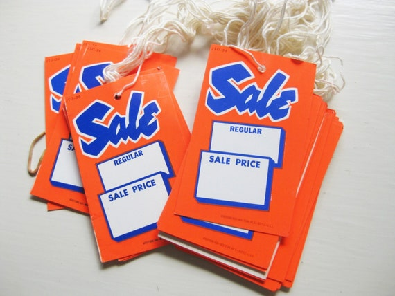 Bright vintage SALE tags in fluorescent orange. 25 per set. Hang tags.