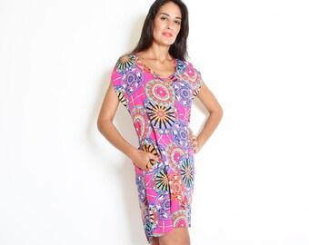 Colorful Dress, Scoop Neck, Short Sleeve Dress, Maternity Dress, Midi Dress, Pink Dress, Tunic Dress, Flowy Dress, Unique Dress, Short Dress