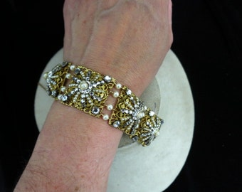 Vintage Faux Pearl & Rhinestone Bracelet With Security Chain