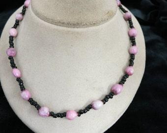 Vintage Black & Shades Pink Glass Necklace