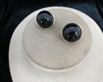 Vintage Signed Japan Black Plastic Earrings