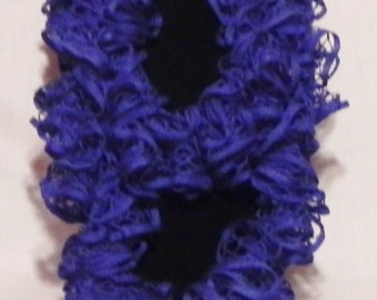 Bright Blue Ruffle Knit Scarf