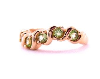 Peridot Ring   Plumb Gold Vintage Jewelry   August Birthstone Ring