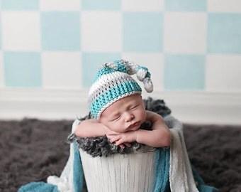 Sleepy hat - newborn prop - knot hat - elf hat - pixie hat - stocking hat - photography prop