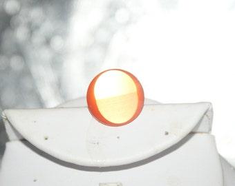 Vintage Lucite button in Fabulous Mid Century Orange Ring
