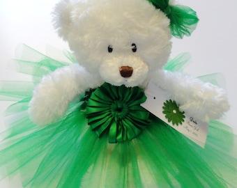 Emerald Green Princess Tutu Teddy Bear, girls gift, flower girl gift, Wedding Keepsake