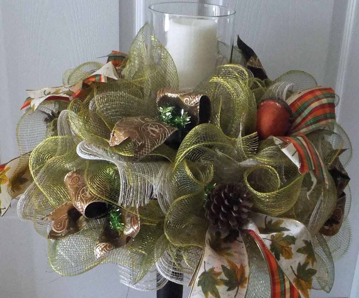 Table centerpiece fall wreath deco mesh decoration