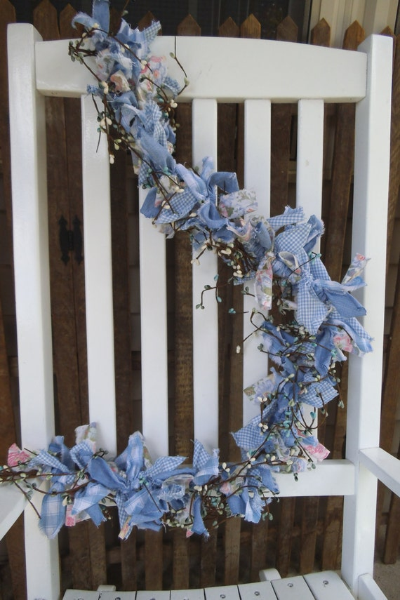 Shabby garland floral banner blue garland garden for Arland decoration
