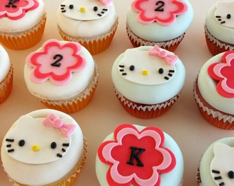 12 Edible Cupcake Toppers Hello Kitty Inspired Girl Birthday and Baby Shower Theme