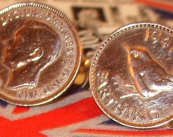 Boxed Pair Vintage British 1941 Farthing Coin Cufflinks Wedding 76th Birthday