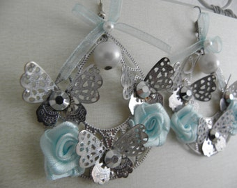 Shabby Chic Romantic Earrings with Butterflies and roses blue