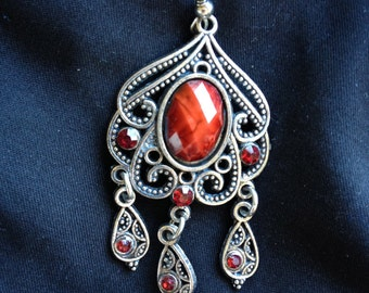 Cushion Cut Red Stone Chandelier Pierced Earrings-Price Reduced