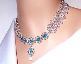 Byzantine romanov chainmaille necklace with blue zircon Swarovski crystal elements, flower necklace, blue crystal necklace, blue and silver
