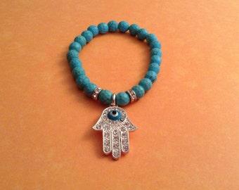 Hamsa, Evil Eye beaded bracelet, evil eye jewelry, protection symbols