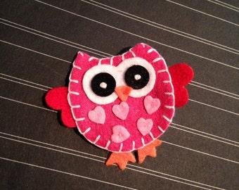Valentine's Day Hair Clip Felt Owl Pink Heart Girls Hair Clip - Red, Hot Pink, Light Pink Glitter Clippie
