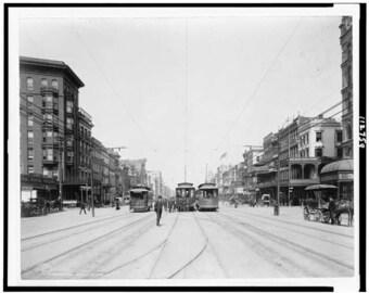 Canal Street 1907- New Orleans, Louisiana- NOLO- Photo Print