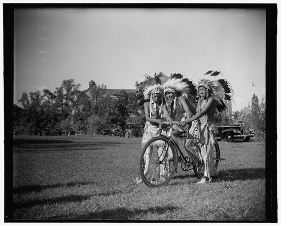 C.1915 Native American Indians with Old Bicycle Bike- Historical-Vintage Black & White Reproduction Photograph: Gicclee Print. Frame it!