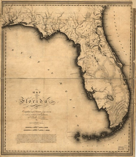 Map Of Florida United States Florida Keys Gulf Stream - 1823 us map