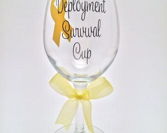 Army Wife, Girlfriend Deployment Survival Cup Wine Glass, Deployment Survival Glass