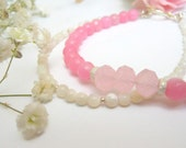 Mother of Pearl and Faceted Pink Ruby Bracelet. Double Strand. SRAJD