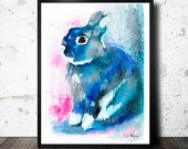 Black Rabbit watercolor  painting print ,  animal, illustration, animal watercolor, animals paintings, animals, portrait,