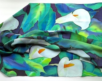 silk scarf Calla lily flowers. Pure silk Hand painted silk scarf blue, green, white painted silk. Batik silk scarves handpainted silk READY