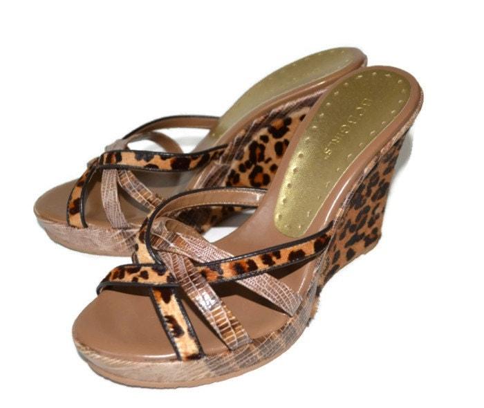 Bcbg Leopard Print Wedge Sandals Size 7 1 2 Vintage 90 S