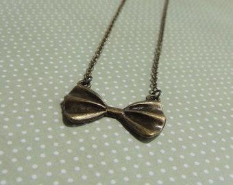 Bronze Antique Brass Bow Necklace Pendant