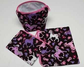 Reusable Sandwich Bag Set,Pony Snack Bags,Horse Baggies,Gadget Bags,Horses Small Bags,Toy Bags,Snack Bags, Nylon Lining, Zipper Closure.