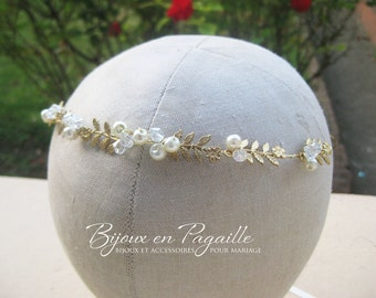 Wedding hair accessory - bridal crown headband - leaves and ivory pearls