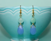 Lahaina | round sea foam green bead light blue faceted tear drop bead gold wire