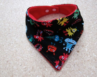 Monsters Bandana Bib with Red Fleece Backing
