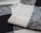"Set of 2 Linen Kitchen Towels ""Geometric & flowers"""