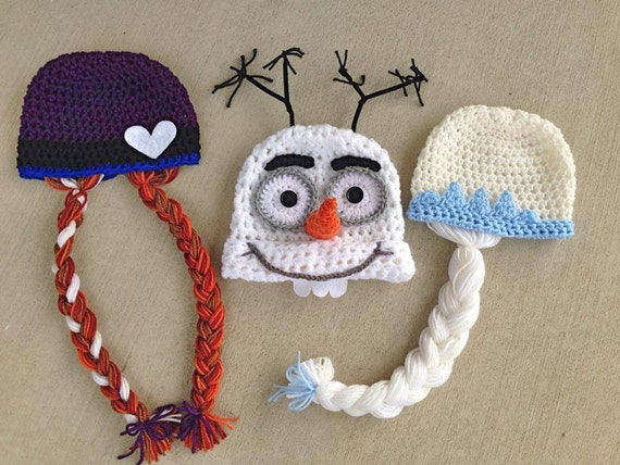Items Similar To Handmade Crochet Frozen Inspired Hats