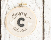 "4"" Personalized Wedding Gift Keepsake - Felt and Embroidery Hoop Art - Personalized - Linen, Gray and White"