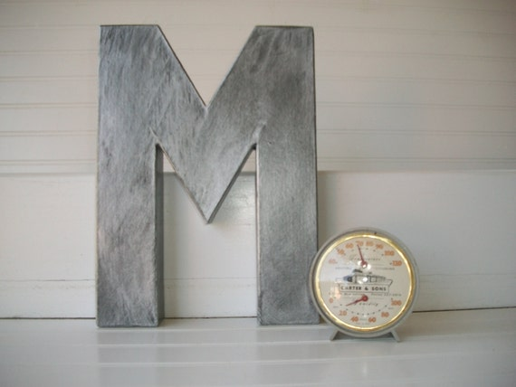 Rustic Letters Wall Decor : Painted letter wall letters inch zinc rustic