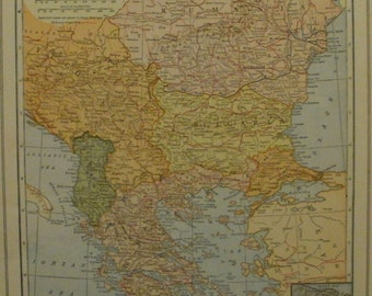 "Balkans Map,Balkan States Map,Constantinople Bulgaria Albania Greece,Map in Europe,Europe Map Art,Place on the World Map,1927 8""x10"" vs18"