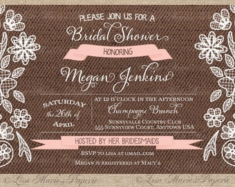 bridal shower invitation, bridal shower digital invitation, bridal shower invite, handmade invitation- Digital File - DIY PRINTABLE