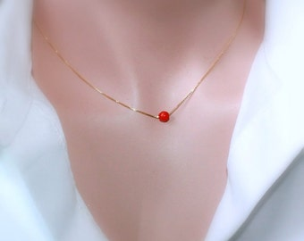 Red Coral Gold Necklace, Red Coral on Gold Filled Necklace Chain