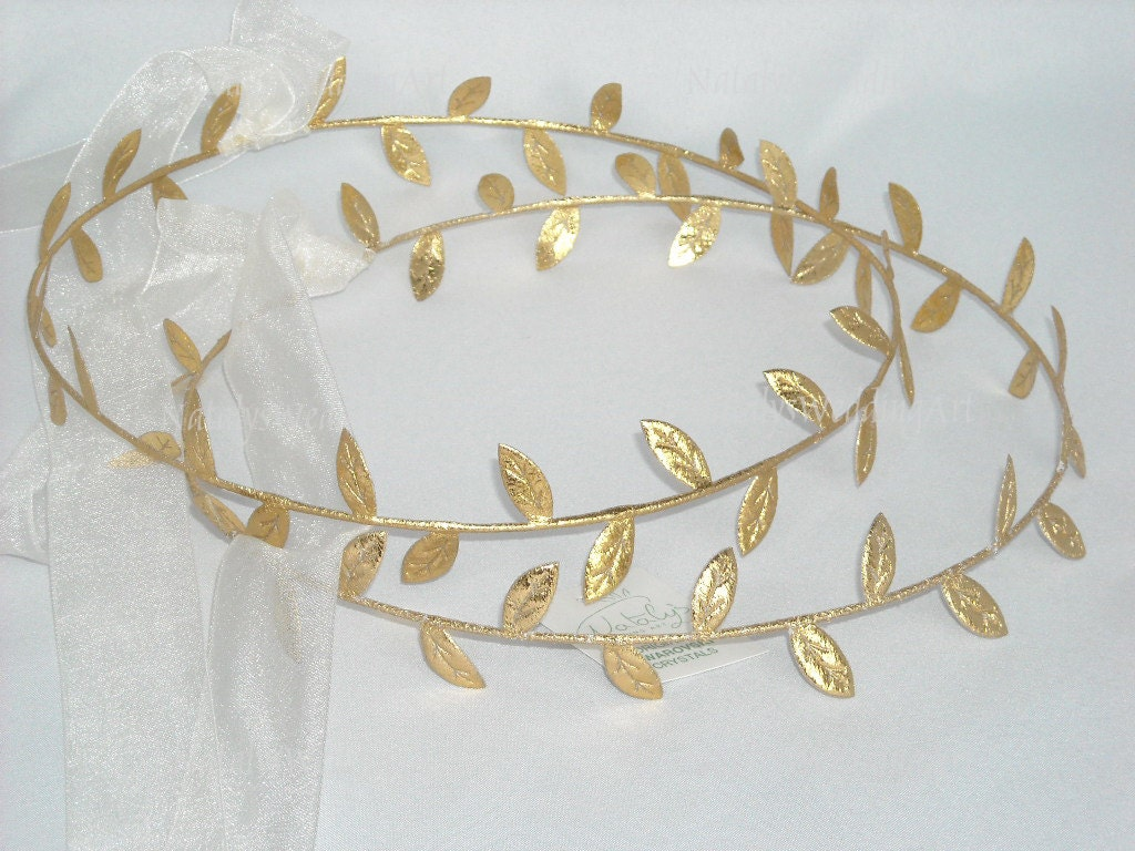 gold stefana wedding crowns STEFANA New Ancient Greek Style Gold Olive Material Trim Leafs Grecian Orthodox Greek Wedding Crowns Tiaras Stefana Stephana